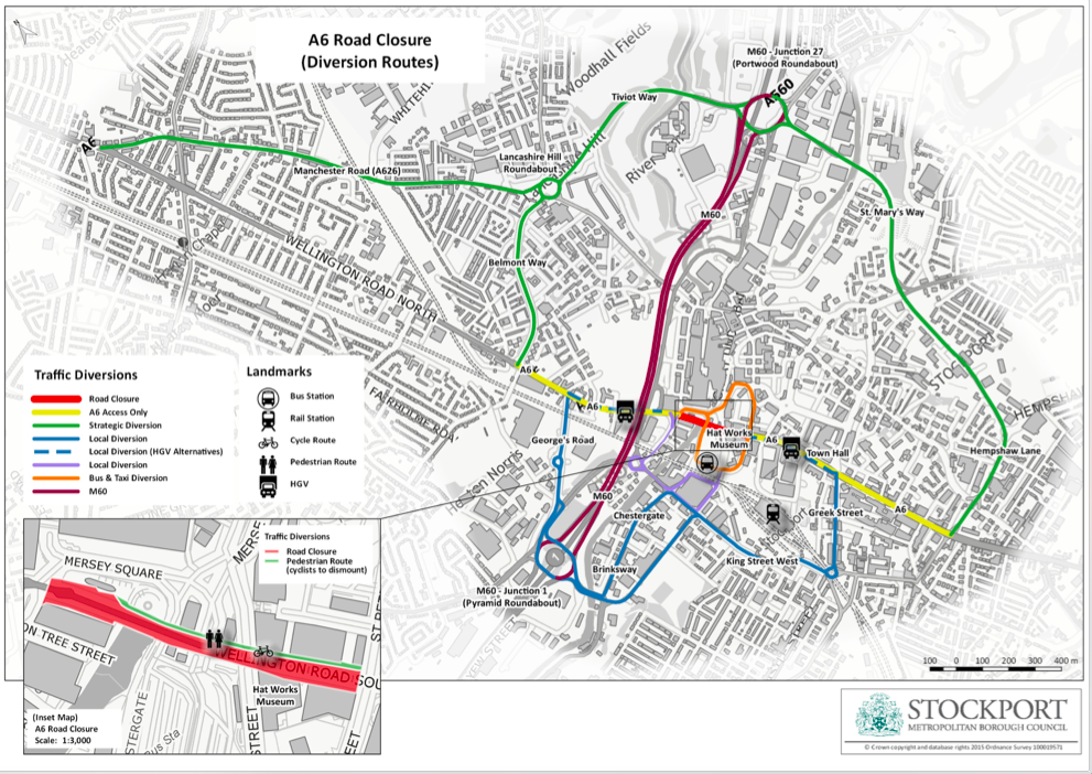 A6 Stockport road closure - map of alternative routes