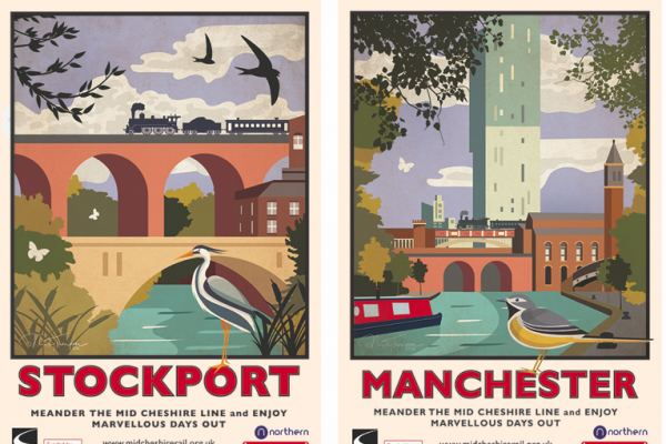 Vintage posters featuring Stockport viaduct