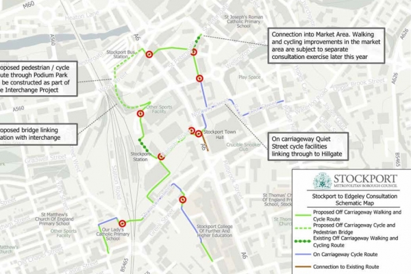 Stockport town centre Edgeley Walking Cycling improvements consultation