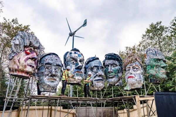Giant G7 heads arrive at the Eden Project